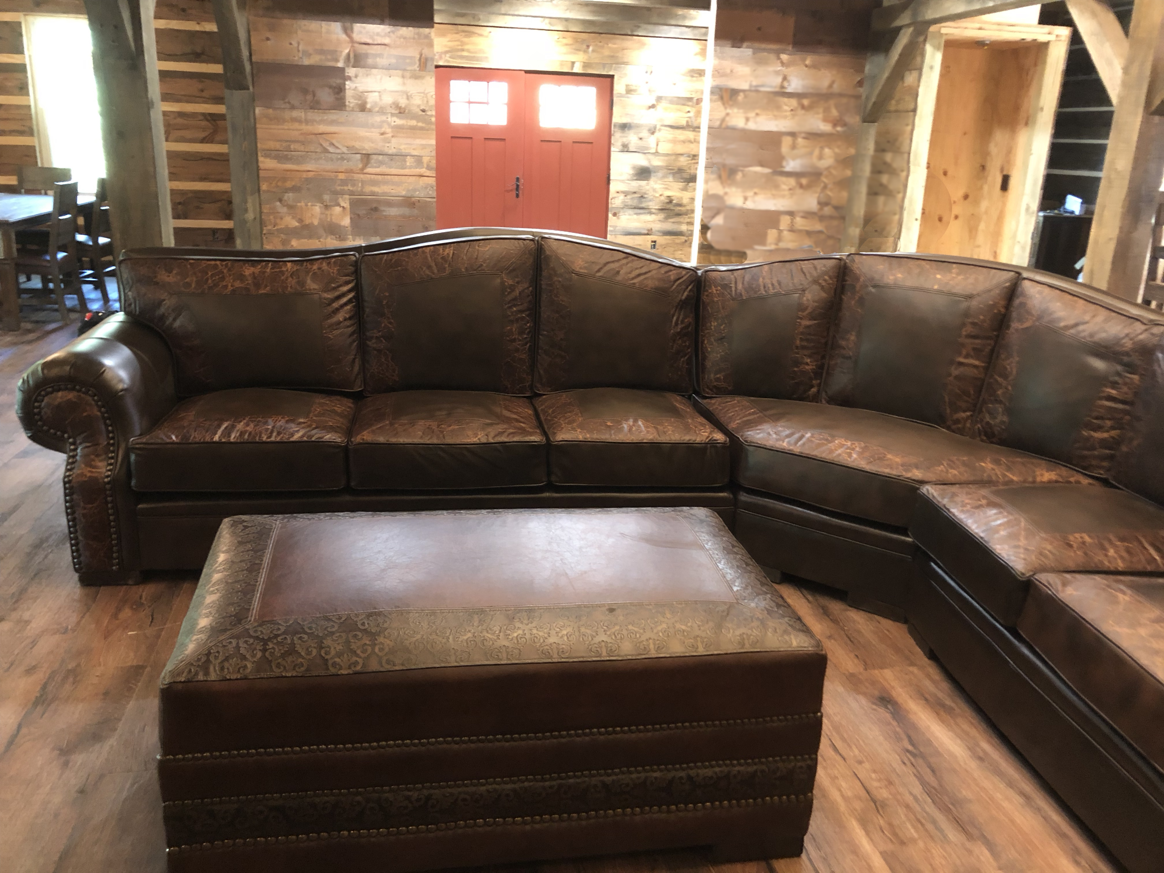 L Shaped Leather Western Sectional