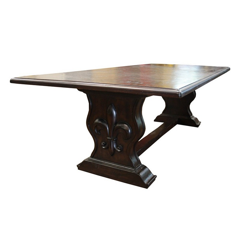 Fleur De Lis Compass Dining Table Solid Wood Old World