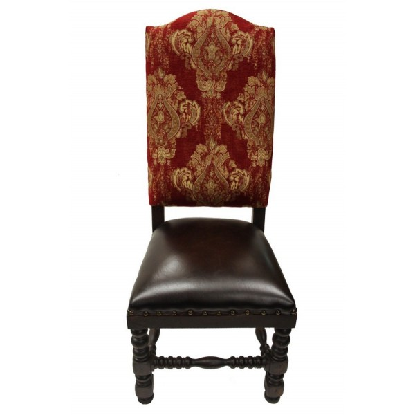 Deep Red Gold Damask Dining Chair, Old World French Dining ...