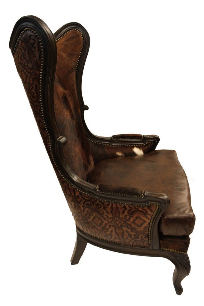 Western Leather Hide Accent Chair