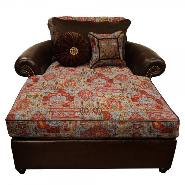 Red western chaise fits two for Chaise western