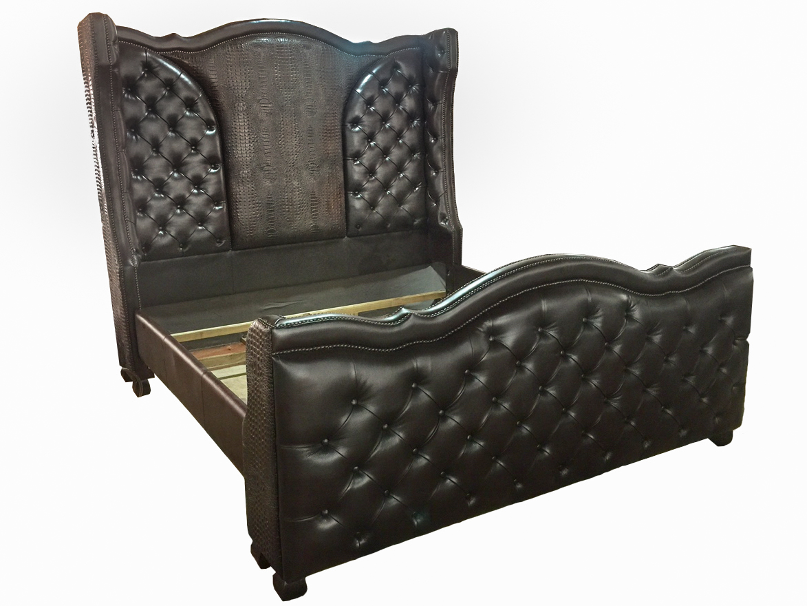 Tall Western Tufted Brown Bed Croc Leather